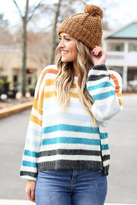 Multi Striped Balloon Sleeve Cropped Sweater from Dress Up Front View
