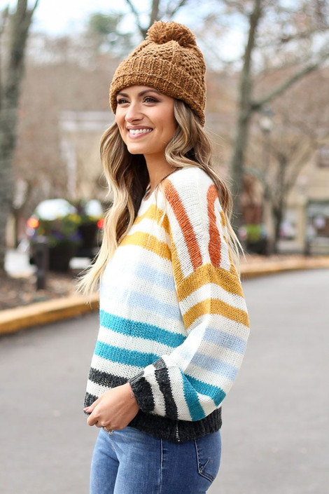 Multi Striped Balloon Sleeve Cropped Sweater from Dress Up Side View