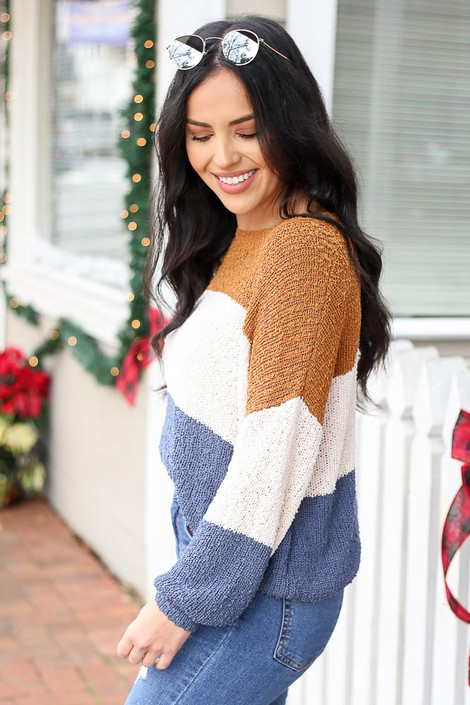 Blue - Color Block Knit Balloon Sleeve Sweater Side View