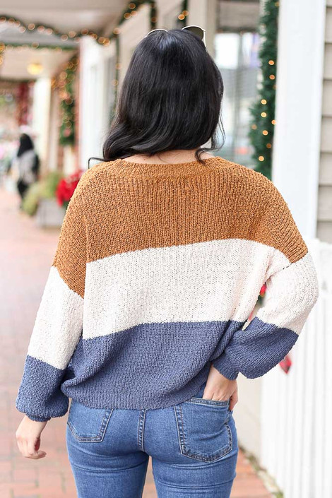 Blue - Color Block Knit Balloon Sleeve Sweater Back View