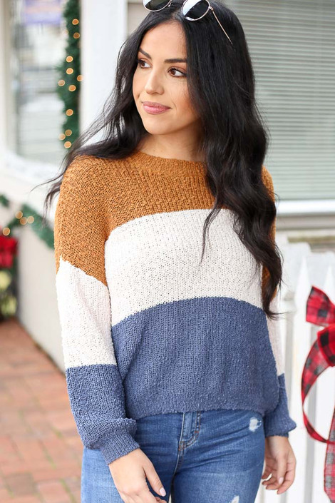 Blue - Color Block Knit Balloon Sleeve Sweater Front View