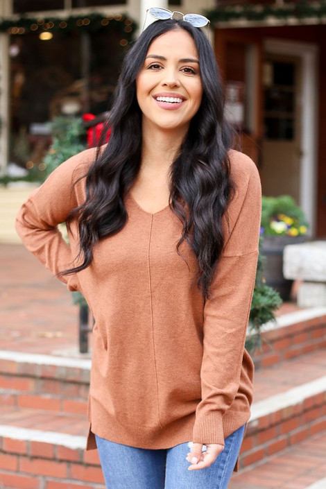 Rust - Oversized Lightweight Knit Sweater