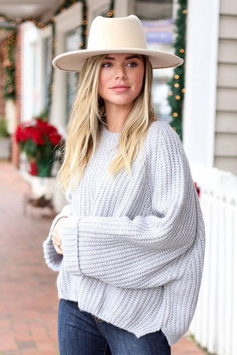 Heather Grey - Oversized Cropped Sweater from Dress Up