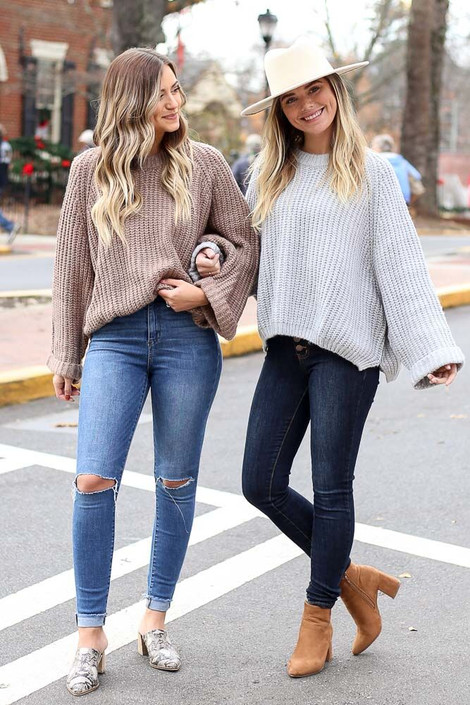 Mocha - Oversized Cropped Sweater from Dress Up