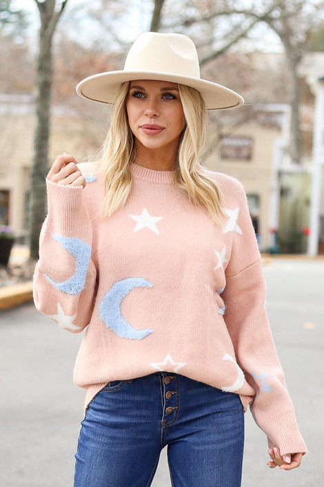 Blush - Moon + Star Knit Sweater from Dress Up on Model