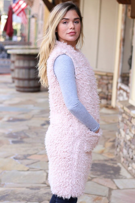 Blush - Faux Fur Vest from Dress Up Side View