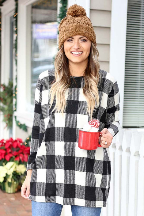 Black - Buffalo Plaid Tunic from Dress Up