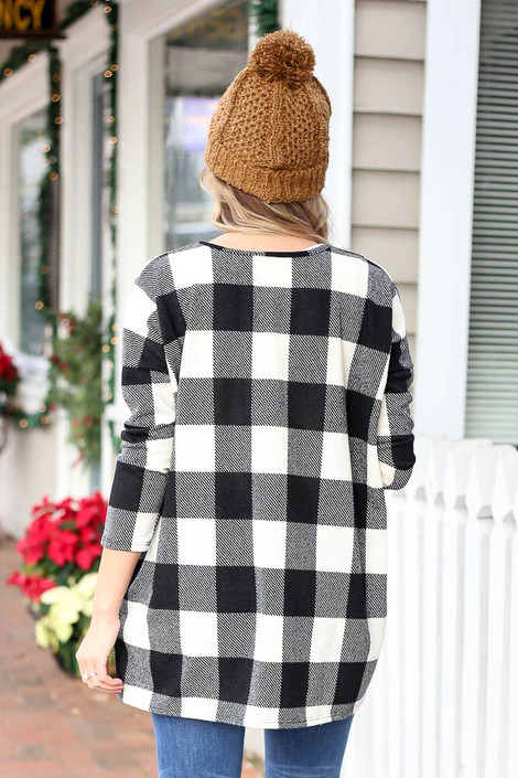 Black - Buffalo Plaid Tunic from Dress Up Back View