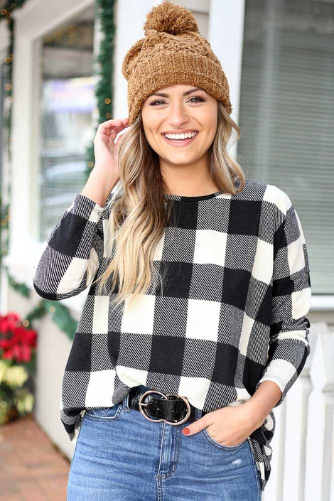 Dress Up model wearing the Black and Ivory Buffalo Plaid Tunic Front View