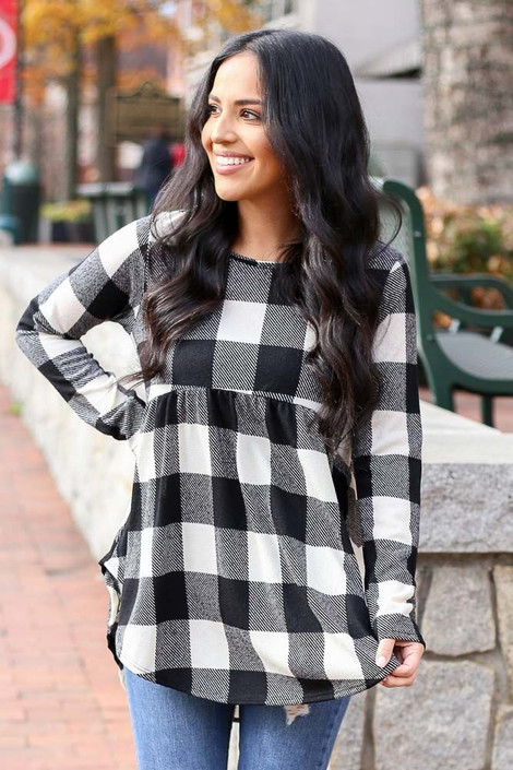 Black - Buffalo Plaid Babydoll Top from Dress Up