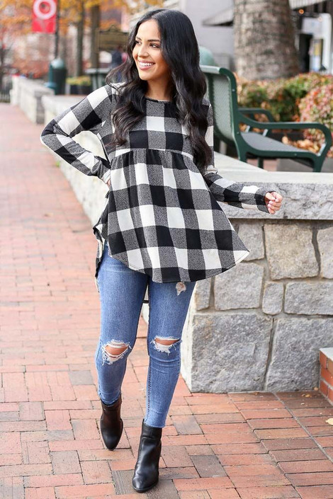 Black - Buffalo Plaid Babydoll Top from Dress Up Front View