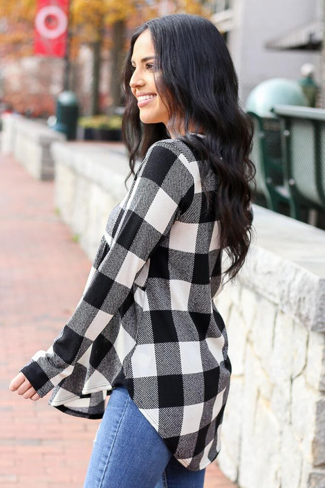 Black - Buffalo Plaid Babydoll Top from Dress Up Side View