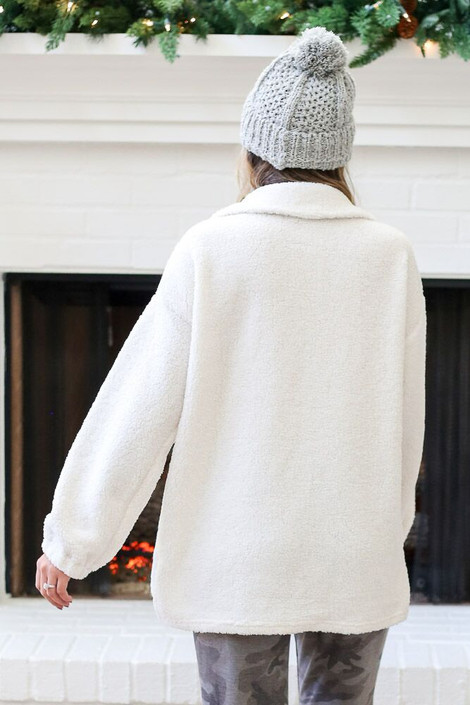 Ivory - Collared Teddy Pullover from Dress Up Back view