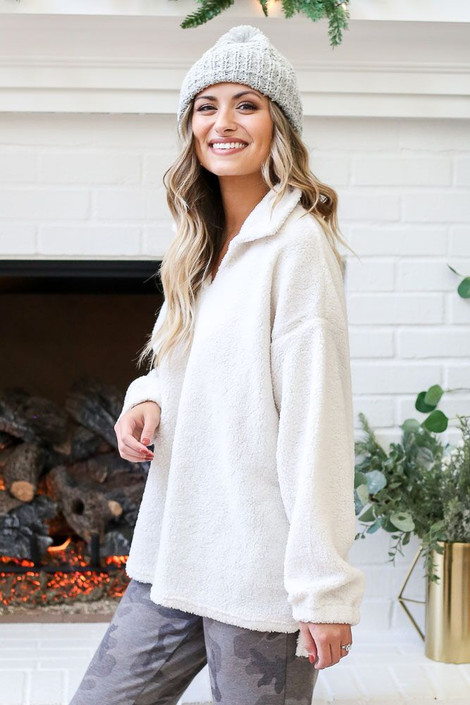 Ivory - Collared Teddy Pullover from Dress Up Side View