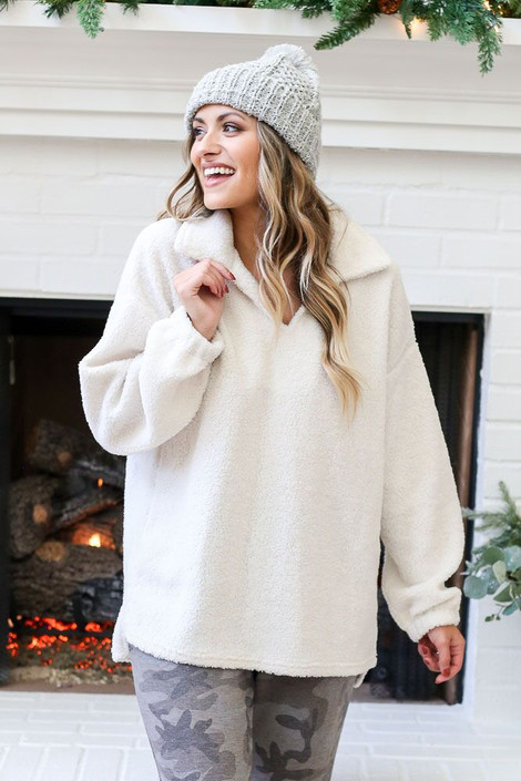 Ivory - Collared Teddy Pullover from Dress Up Front View