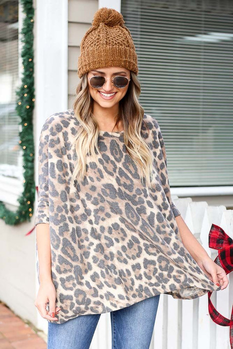 Brown - Leopard Fleece Top from Dress Up
