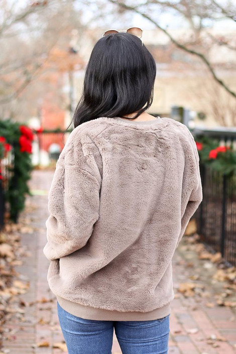 Olive - Faux Fur Pullover Back View