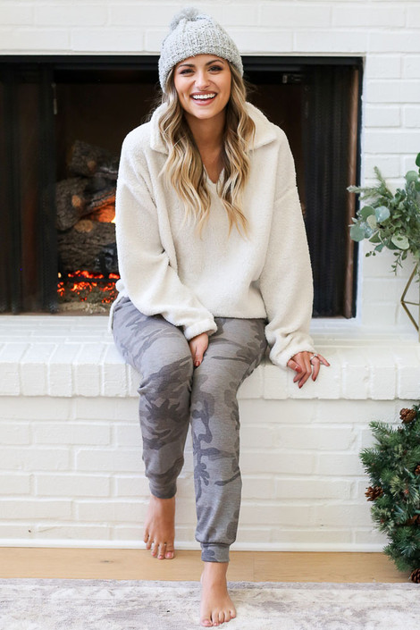 Grey - Camo Joggers Sitting View