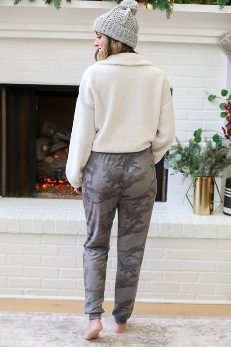 Grey - Camo Joggers Back View