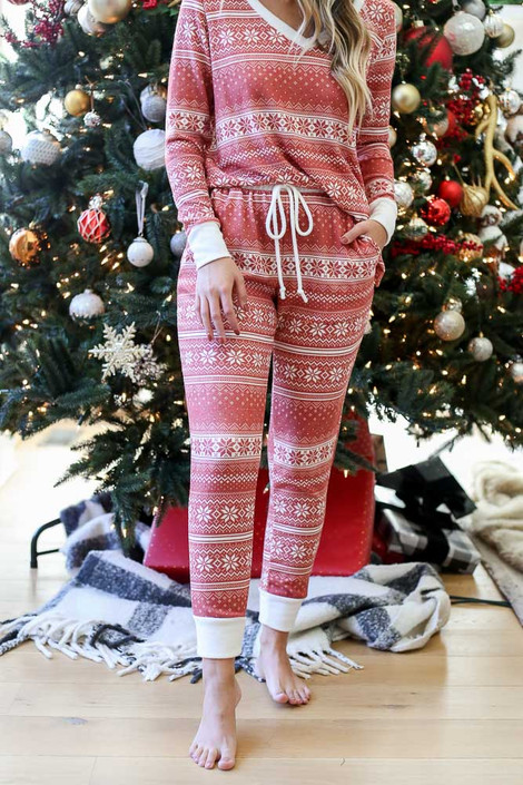 Red - Nordic Fleece Jogger Pajama