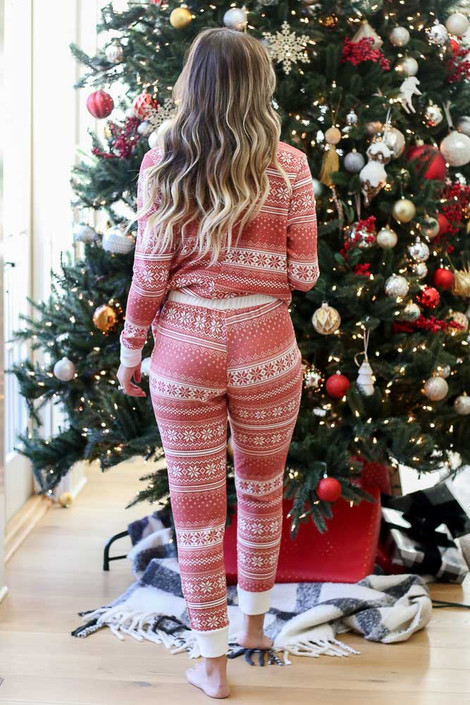 Red - Nordic Fleece Jogger Pajama Back View