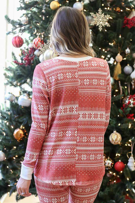 Red - Fair Isle Printed V-Neck Pullover Back View