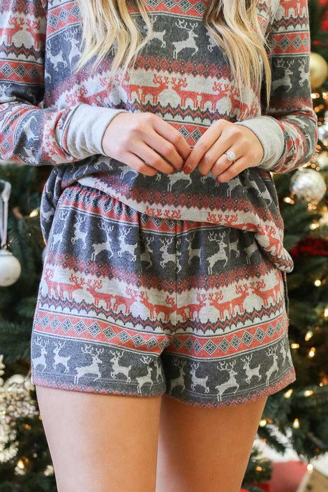 Grey - Printed Fleece Lounge Shorts