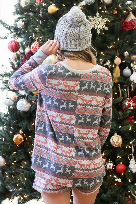 Model from Dress Up in the V-Neck Printed Fleece Pullover Back View