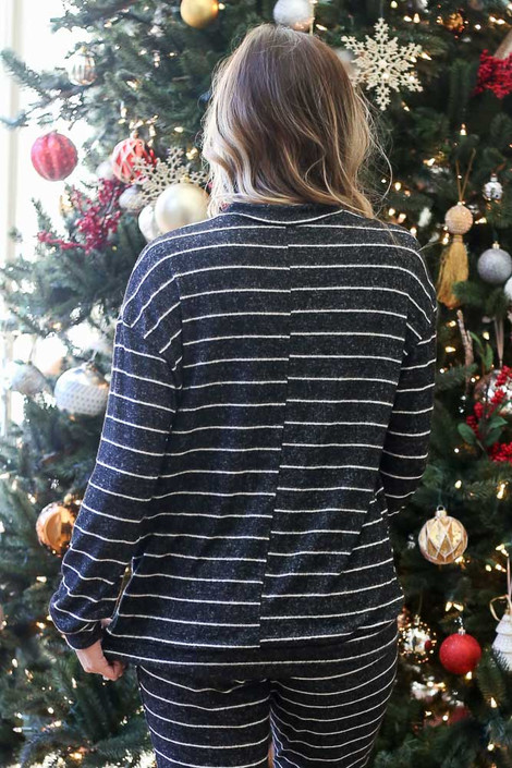 Black - Striped Crew Neck Fleece Pullover Back View