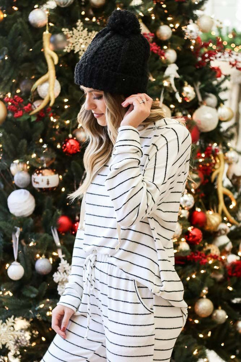 Striped Fleece Hoodie from Dress Up Side View
