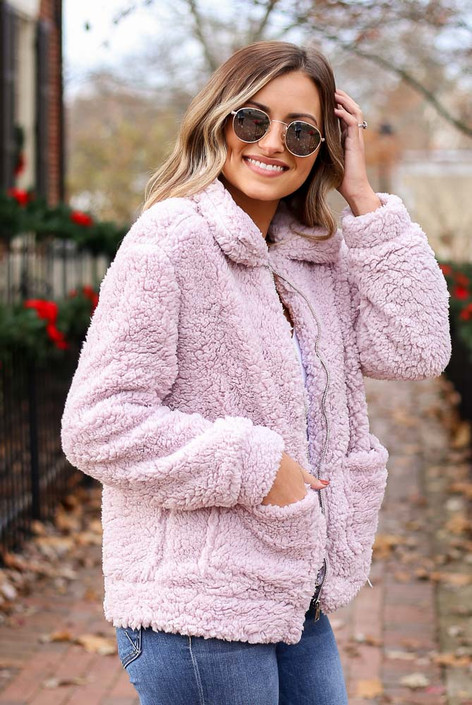Lilac - Zip Up Sherpa Jacket Side View