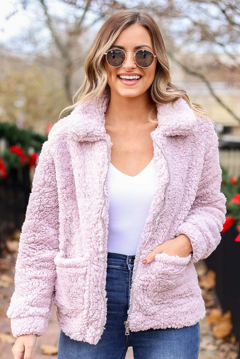 Lilac - Zip Up Sherpa Jacket
