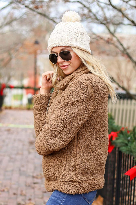 Mocha - Zip Up Sherpa Jacket Side View on Model Wearing With Jeans and Beanie