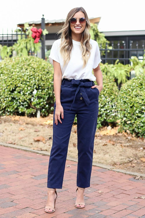 Navy - Corduroy Paperbag Waist Pants Full View