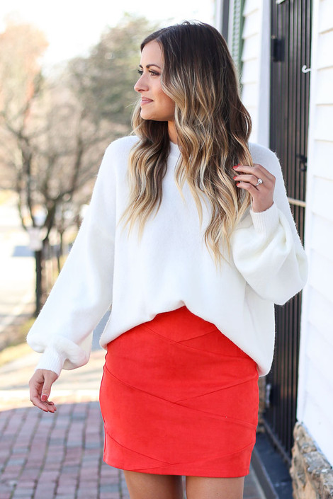 Red - Mircrosuede Bodycon Skirt Full View