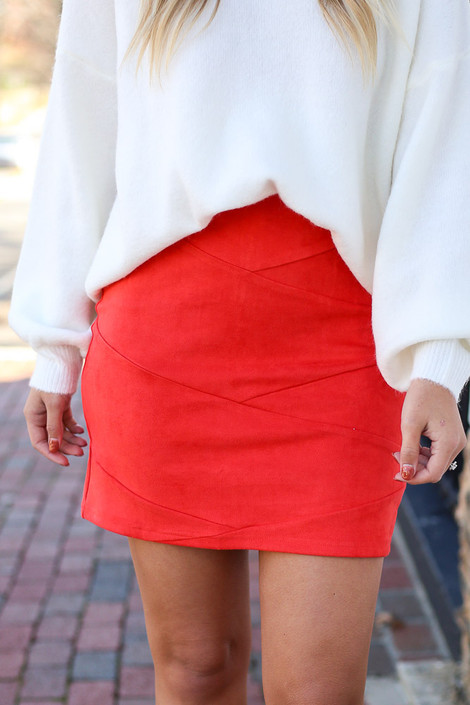 Red - Mircrosuede Bodycon Skirt Paired with white sweater