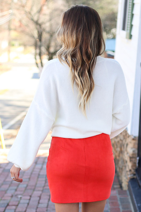 Red - Mircrosuede Bodycon Skirt Back View