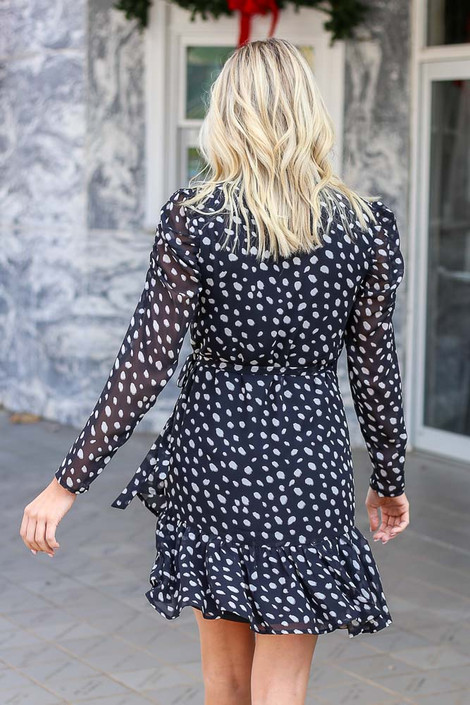 Black - Ruffle Hem Wrap Dress Back View