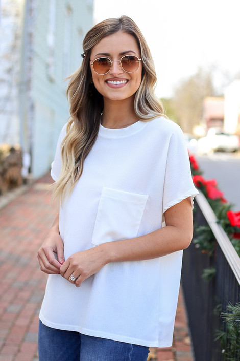 White - Dress Up Model wearing a white textured pocket t-shirt