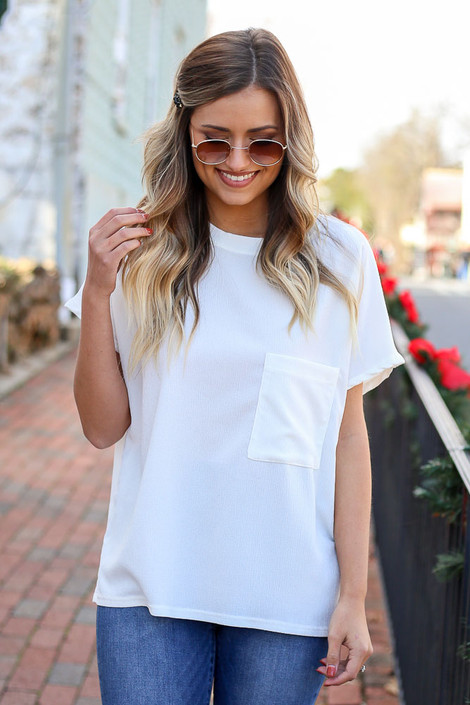 White - Textured Pocket Top