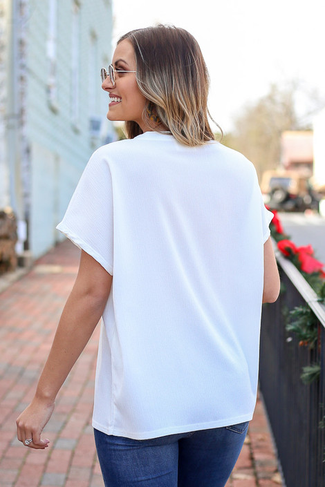 White - Textured Pocket Top Back View