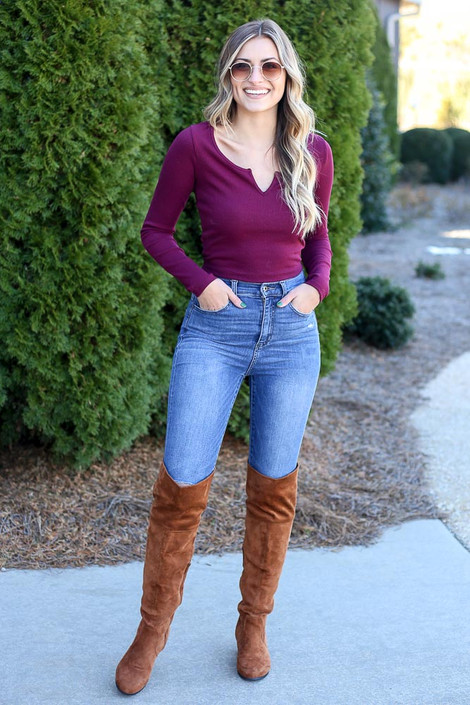 Burgundy - Ribbed Crop Top from Dress Up