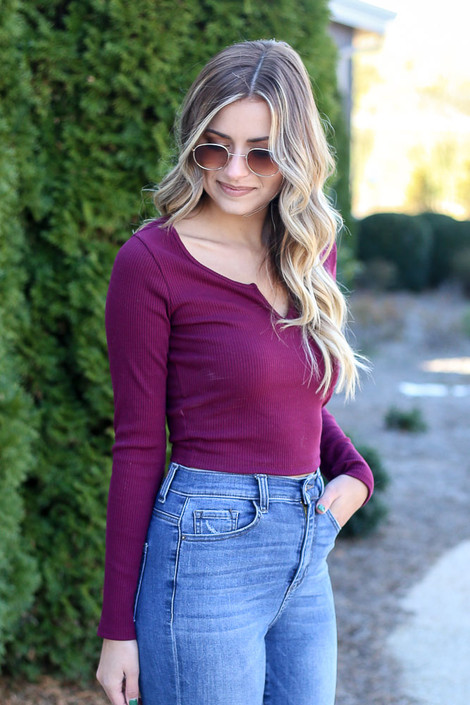 Model from Dress Up wearing the Burgundy Ribbed Crop Top Side View