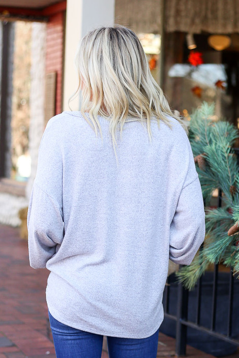 Grey - Lightweight Fleece Pullover Back View