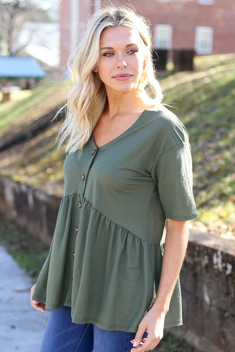 Olive - Button Front Babydoll Top from Dress Up