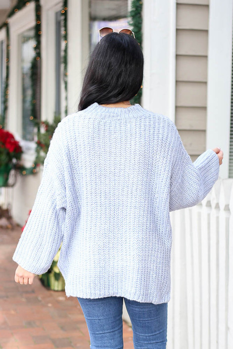 Blue - Oversized Knit Sweater Back View