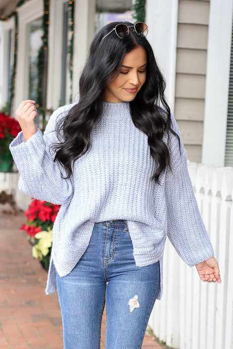 Blue - Oversized Knit Sweater Tucked In