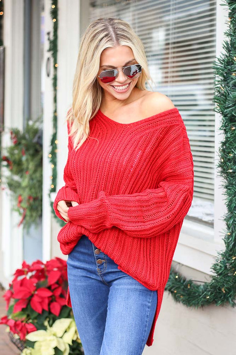Red - Loose Knit Ribbed Sweater Side View