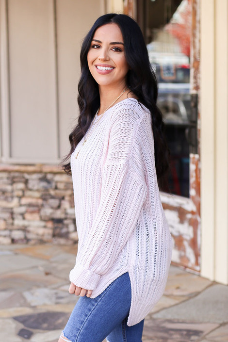 Blush - Loose Knit Ribbed Sweater Side View