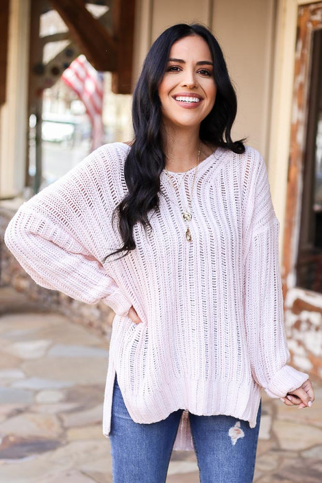 Blush - Loose Knit Ribbed Sweater